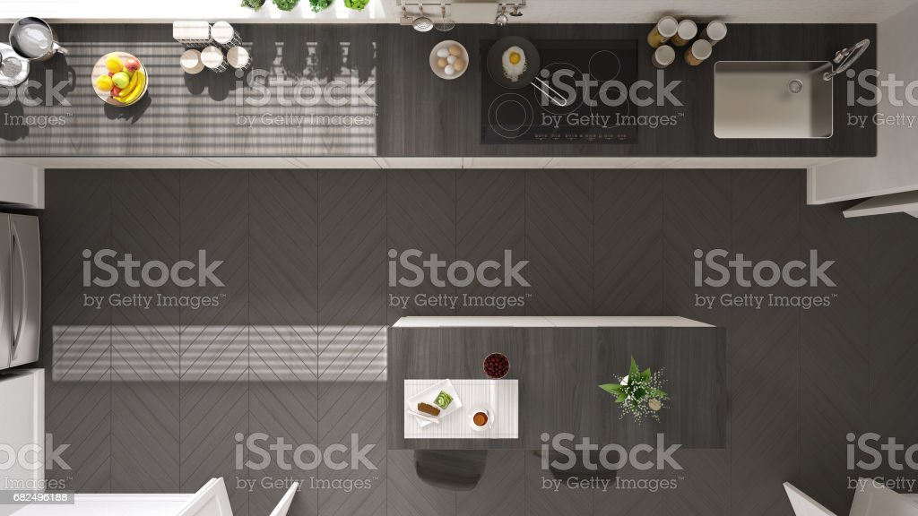 Scandinavian classic kitchen with wooden and white details, top view, minimalistic interior design royalty-free stock photo