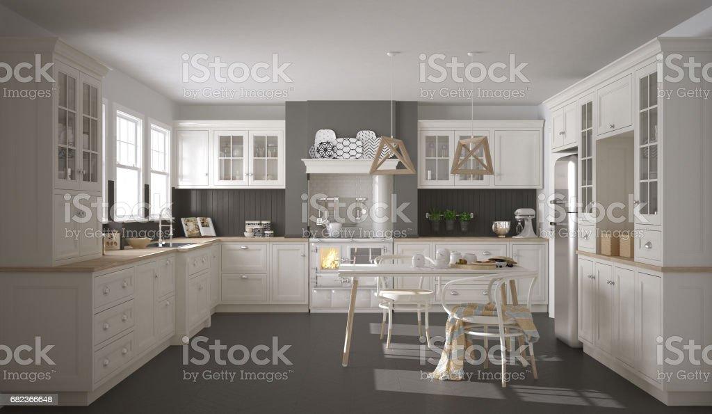 Skandinavisk klassisk vitt kök med trädetaljer, minimalistisk inredning och design royaltyfri bildbanksbilder