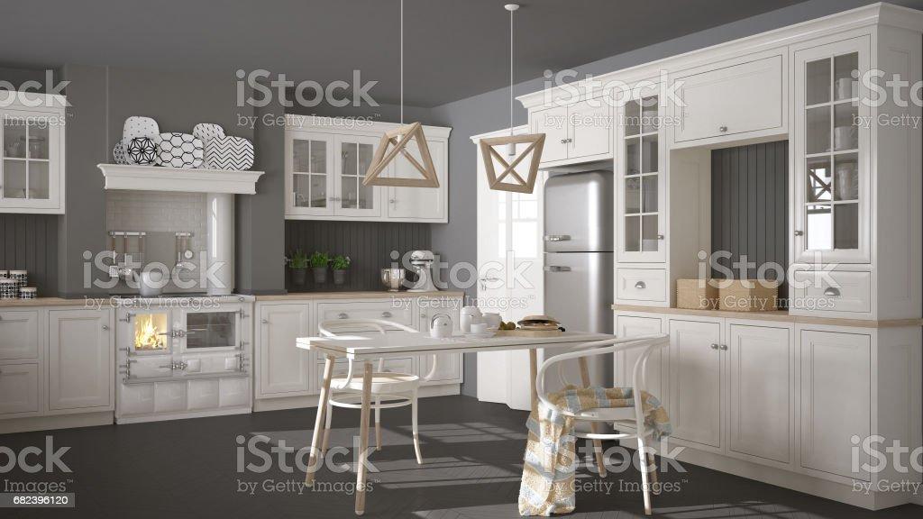 Scandinave cuisine blanc classique avec des détails en bois, décoration minimaliste photo libre de droits