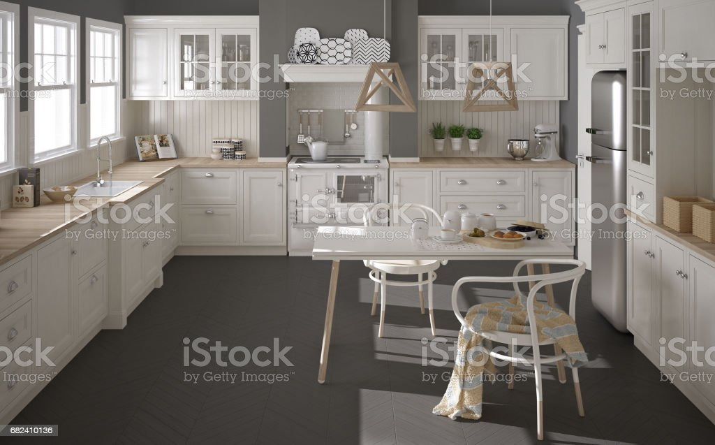 Scandinavian classic white kitchen with wooden details, minimalistic interior design royalty-free stock photo