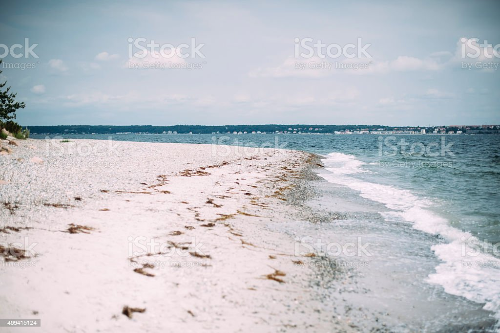 scandinavian cold beach stock photo