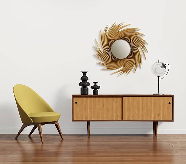 skandinavische konsole tisch mit sessel und spiegel - moderne 50er jahre mode stock-fotos und bilder