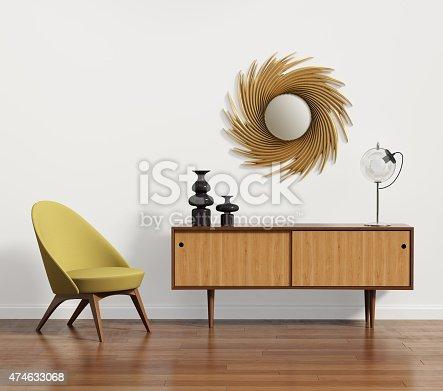 skandinavische konsole tisch mit sessel und spiegel stock fotografie und mehr bilder von 1950. Black Bedroom Furniture Sets. Home Design Ideas