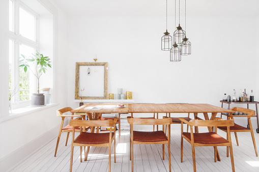 Interior of Scandinavian style dining room.