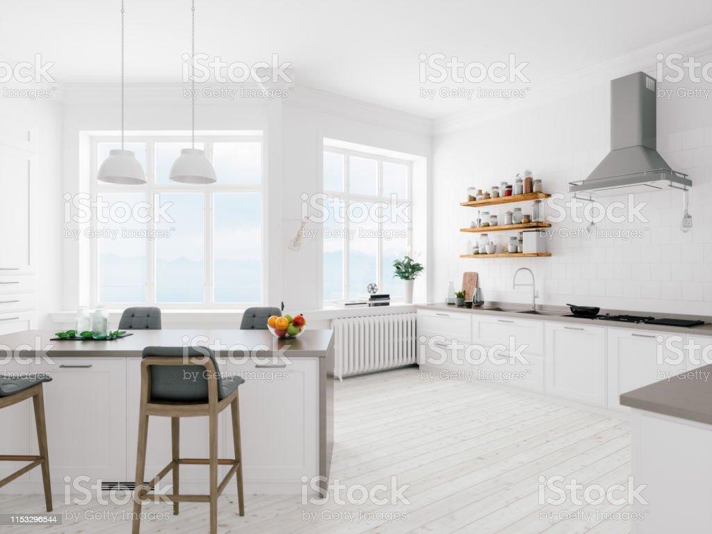 Scandinavian Design Minimalist Kitchen Interior Stock Photo Download Image Now Istock
