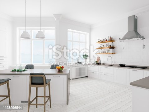 Interior of a minimalist kitchen.