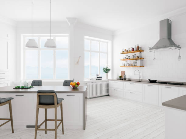 Scandinavian Design Minimalist Kitchen Interior Interior of a minimalist kitchen. scandinavian culture stock pictures, royalty-free photos & images