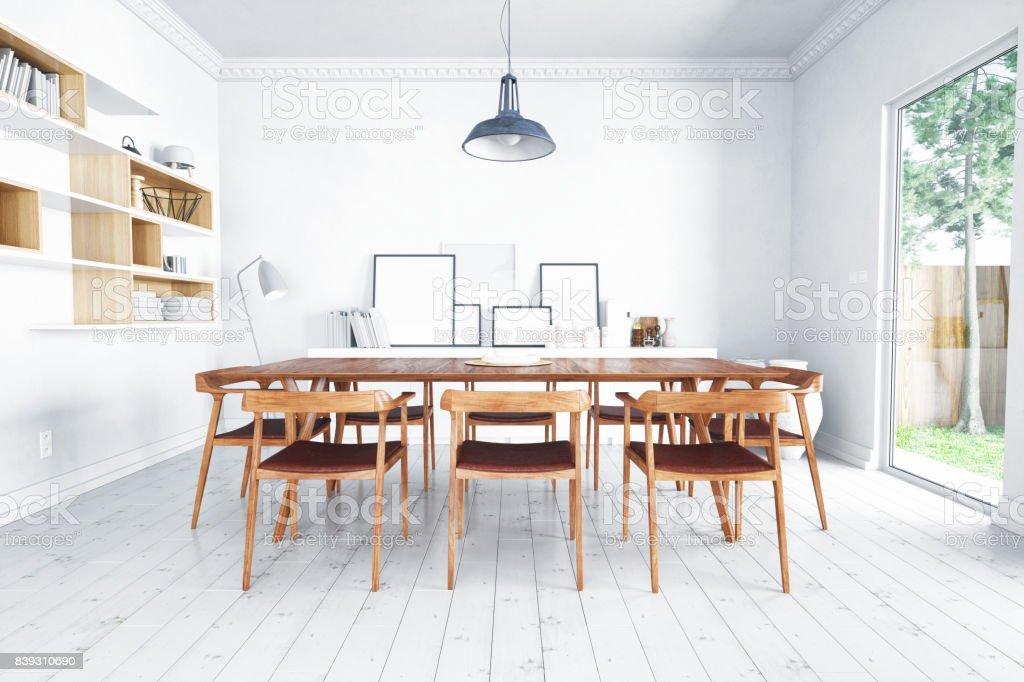 Scandinavian Dining Room Interior stock photo