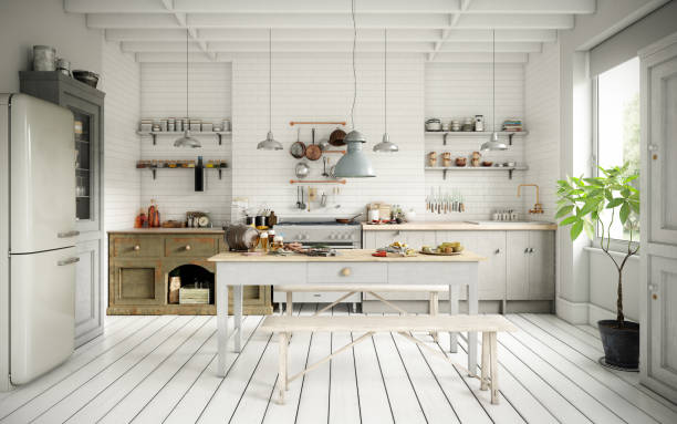 Scandinavian Domestic Kitchen and Dining Room stock photo
