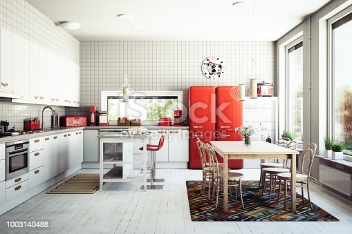 Digitally generated Scandinavian domestic kitchen interior scene.  The scene was rendered with photorealistic shaders and lighting in Autodesk® 3ds Max 2016 with V-Ray 3.6 with some post-production added.