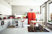 Digitally generated Scandinavian domestic kitchen interior scene.\n\nThe scene was rendered with photorealistic shaders and lighting in Autodesk® 3ds Max 2016 with V-Ray 3.6 with some post-production added.