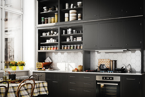Digitally generated modern Scandinavian domestic kitchen interior scene.  The scene was rendered with photorealistic shaders and lighting in Autodesk® 3ds Max 2019 with V-Ray 3.7 with some post-production added.