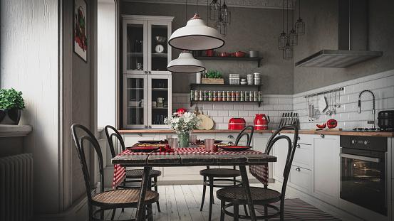 Digitally generated cozy Scandinavian domestic kitchen interior scene.