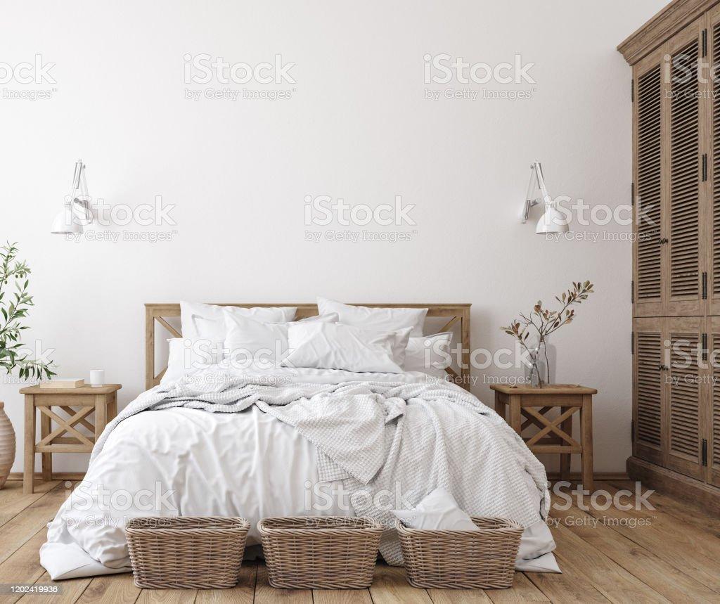 Skandinavische Bauernhaus Schlafzimmer Interieur, Wand Mockup - Lizenzfrei Agrarbetrieb Stock-Foto