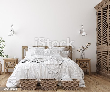 Scandinavian farmhouse bedroom interior, wall mockup, 3d render