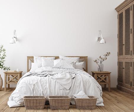 Skandinavische Bauernhaus Schlafzimmer Interieur Wand Mockup Stockfoto und mehr Bilder von Agrarbetrieb