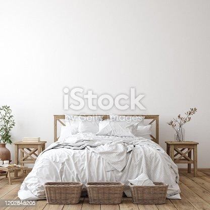 Scandinavian farmhouse bedroom interior, wall mockup, 3d render