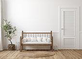 istock Scandinavian farmhouse hallway interior, wall mockup 1202419943
