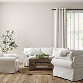 istock Scandinavian farmhouse living room interior, wall mockup 1202419926