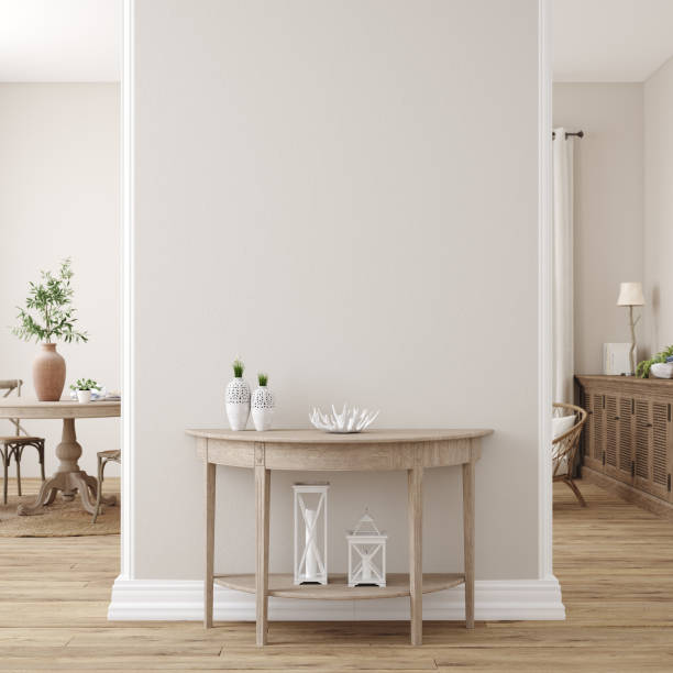 斯堪的納維亞農舍客廳內部,牆壁模型 - 室內 個照片及圖片檔
