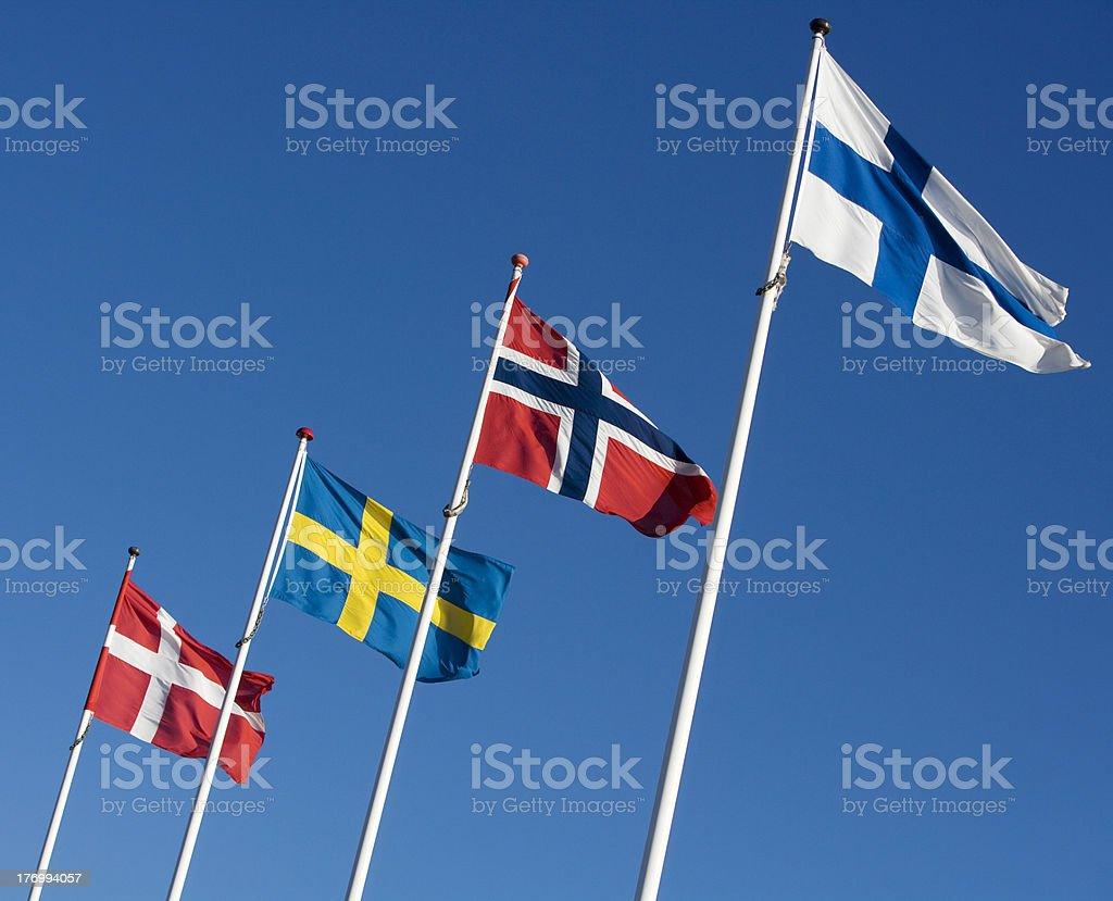 Scandinavian flags in a blue sky  stock photo