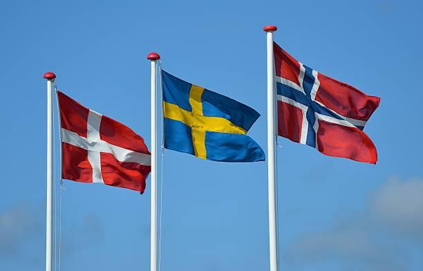 skandinavische flags - norwegen fahne stock-fotos und bilder