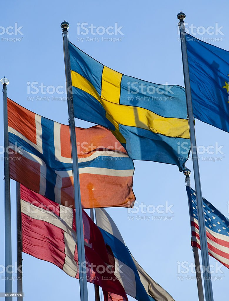 Scandinavian flags royalty-free stock photo
