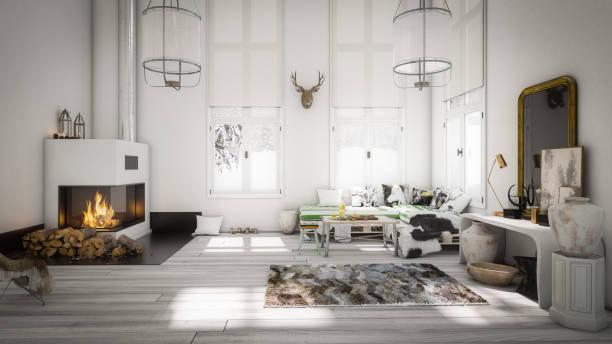 Scandinavian Home Interior stock photo