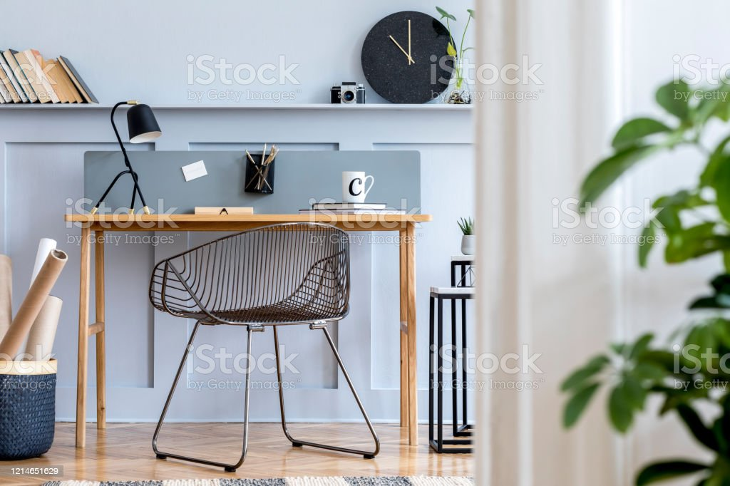 Scandinavian Home Office Interior With Wooden Desk Design Chair Wood Panleing With Shelf Plant Table Lamp Office Supplies And Elegant Accessories In Modern Home Decor Stock Photo Download Image Now Istock