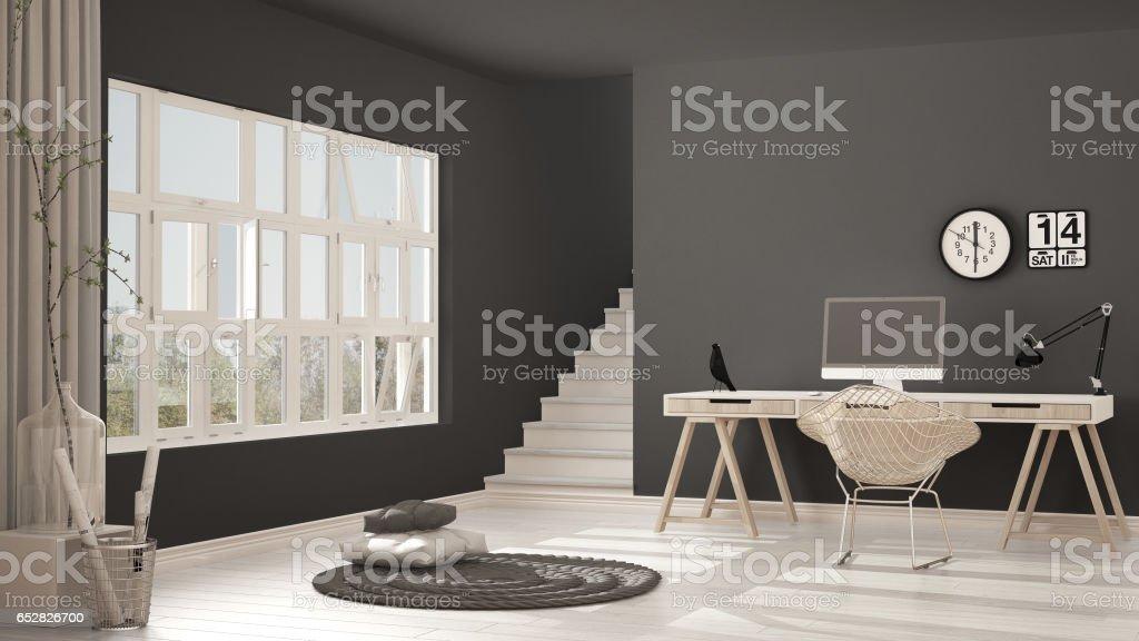 Scandinavian Home Office, Loft Workplace, Minimalist Interior Design  ロイヤリティフリーストックフォト