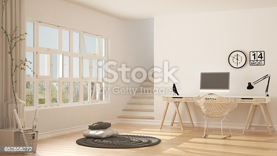 istock Scandinavian home office, loft workplace, minimalist interior design 652858272