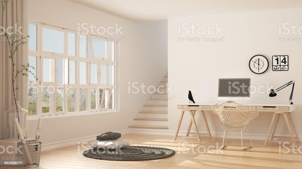 Scandinavian home office, loft workplace, minimalist interior design stock photo