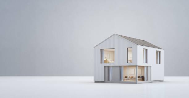 コピー スペースとモダンなデザイン、空の白い床とコンクリートの壁の背景に大きな家族の新しい家で北欧の家 - 模型 ストックフォトと画像