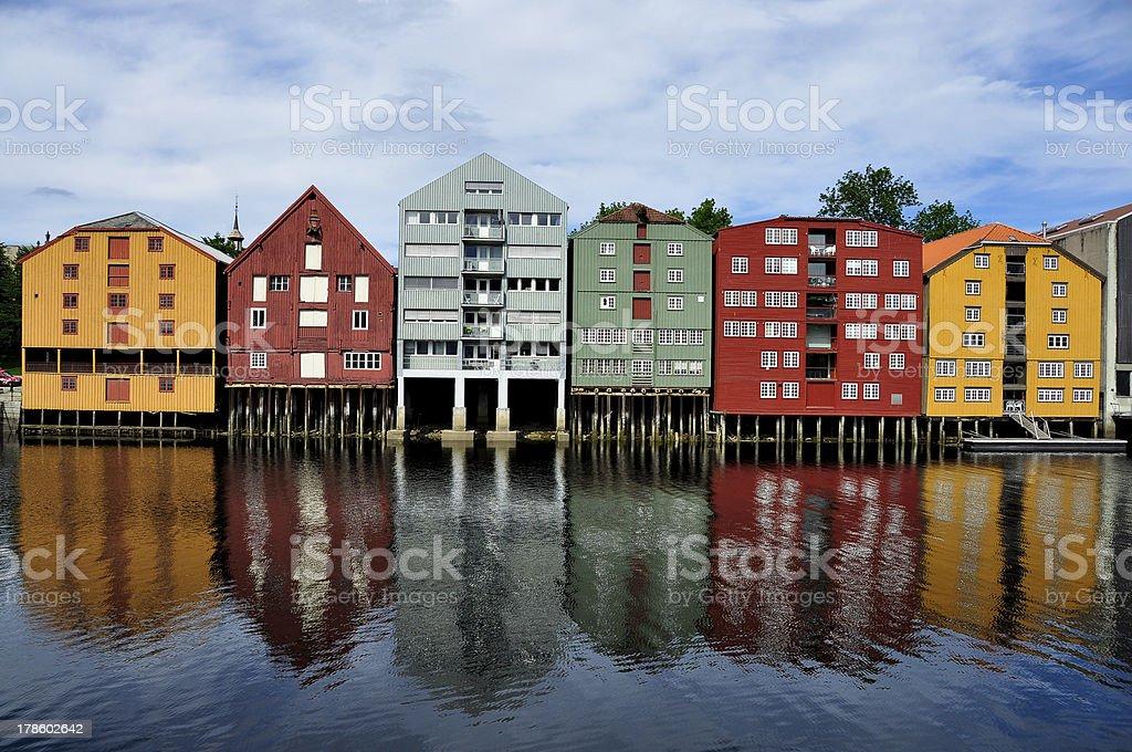 Scandinavian houses on stilts stock photo