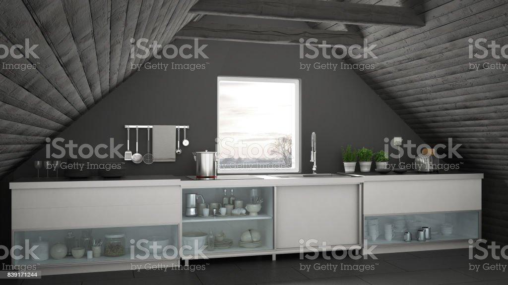 Cocina Industrial Escandinavo Loft Entrepiso Diseño De Interior De Techo  Arquitectura Blanco Y Gris Foto de stock y más banco de imágenes de A la  moda