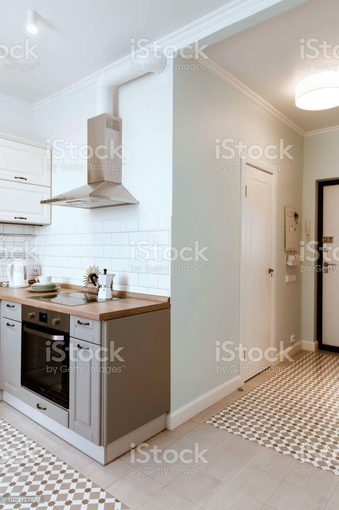 Scandinavian Interior Design White Grey Studio Apartment Organization Stock Photo Download Image Now Istock