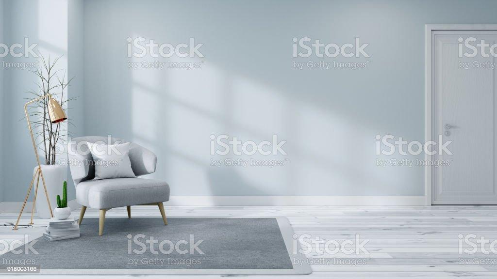 Skandinavischen Interieur Wohnzimmer Konzept Leichten Grauen Sofa