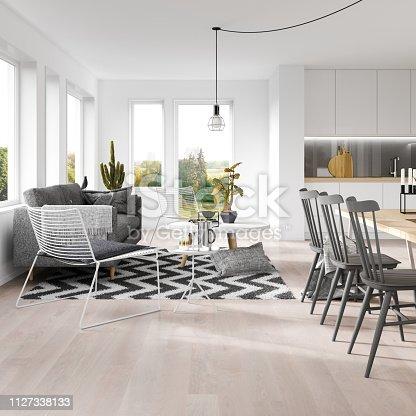 Scandinavian interior. Render image