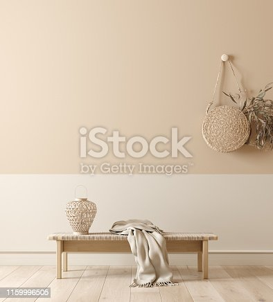 Scandinavian interior with bench, lamp and wicker handbag, wall mock up and minimal decor in room background, 3d rendering