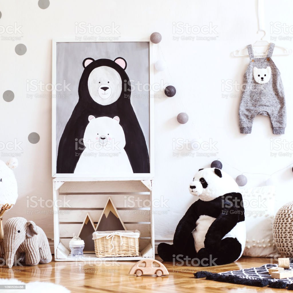 Scandinavian Kid Room With Mock Up Photo Frame On The Pattern Wall