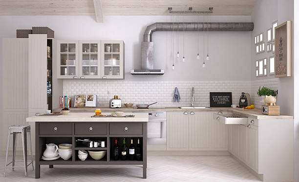 scandinavian kitchen, interior design - domestic kitchen stock photos and pictures