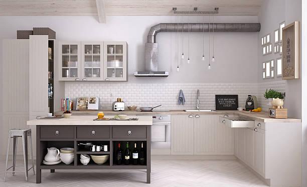 Scandinavian kitchen, interior design stock photo