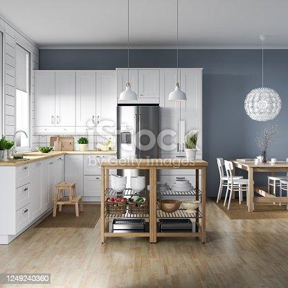 696939000 istock photo Scandinavian kitchen interior 1249240360