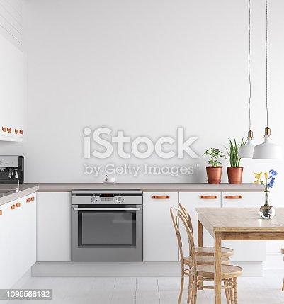 istock Scandinavian kitchen interior, wall mock up 1095568192