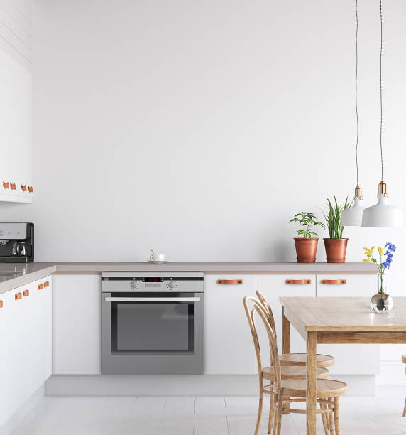 scandinavian kitchen interior, wall mock up - kitchen imagens e fotografias de stock