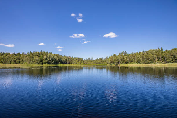 Scandinavian lake view stock photo