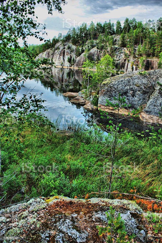 Scandinavian landscape with rocks royalty-free stock photo