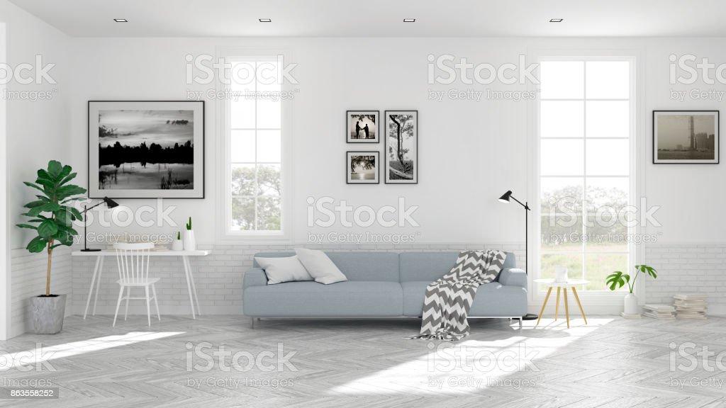 Scandinavian living room  interior design, light blue sofa on wood floor ,white room,3Drender stock photo