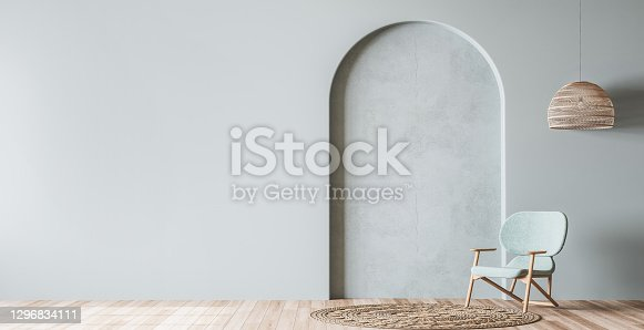 Scandinavian living room mockup, wooden chair on empty pastel blue background, minimal panoramic design, 3d render