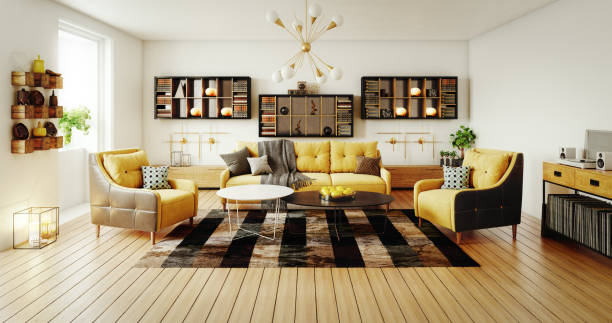Scandinavian Living Room Digitally generated modern living room interior design.  The scene was rendered with photorealistic shaders and lighting in Autodesk® 3ds Max 2016 with V-Ray 3.6 with some post-production added. household equipment stock pictures, royalty-free photos & images